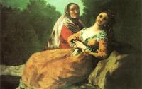 Maja y vieja, de Goya (1780)