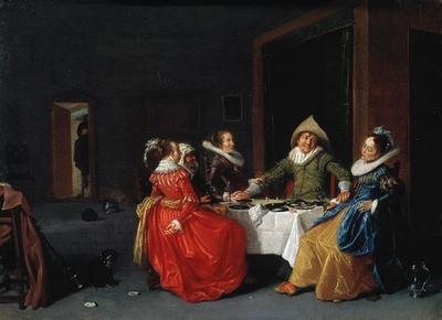 Escena en burdel, compañía elegante, de Pot (1630)