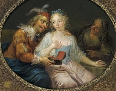 Un pretendiente ofrece a una mujer joven joyas, detrás la alcahueta, de Janneck (1731 c.)
