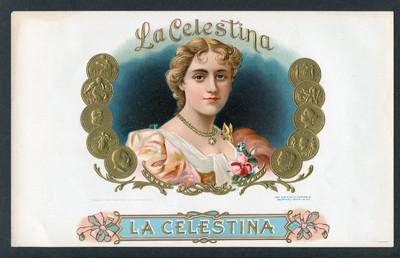 Habilitación de caja de puros con litografía La Celestina (c. 1950)