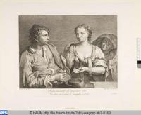 Pareja de jovenes y alcahueta, grabado (1739-1780) basado en pintura de Francesco Maggioto (1738-1805)