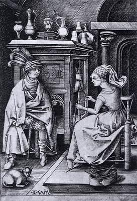 Visita a la hilandera,  de Meckenem (1495, c.)