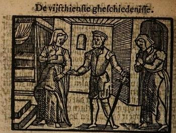 Ilustración del acto XV de la edición de Amberes (1616)