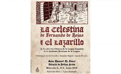 Cartel anunciador de ediciones de La Celestina y Lazarillo, Academia Mexicana (2018)