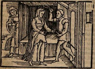 Ilustración segunda del acto III de la edición de Amberes (1616)