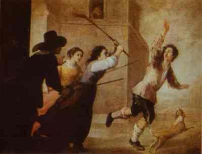 El hijo pródigo expulsado de la casa de las prostitutas, de Murillo (1660 c.)