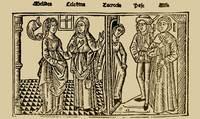 Grabado del acto X de la edición de Burgos (1499)
