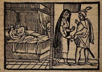 Ilustración del acto VII de la edición de Amberes (1616)