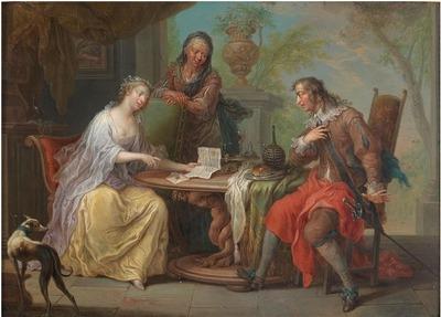 Un par de 'escena galante' en un parque, de Janneck (1730 c.)