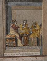 Alcahueta de comedia griega en mosaico (siglo II antes de Cristo)