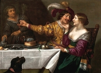 Koppelaarster; At the Procuress ([en casa de] la alcahueta), de Bijlert (c. 1625)