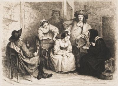 Alcahueta ofreciendo joyas a una chica joven, de Billoin (1856 c.)
