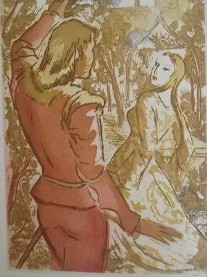 Ilustración de encuentro de Calisto Melibea de la edición de Barcelona (1948)