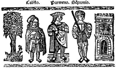 Ilustración del acto II de la edición de Valencia (1529)