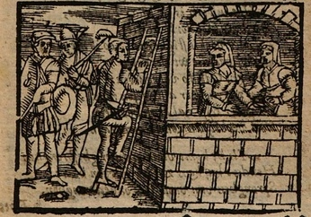 Ilustración primera del acto XIX de la edición de Amberes (1616)