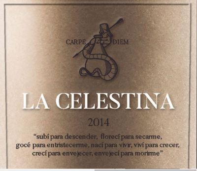 Etiqueta del vino La Celestina, Bodegas Atalayas de Golbán (2014)