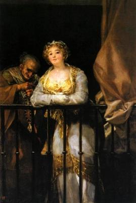 Maja y Celestina al balcón, de Goya (1808)