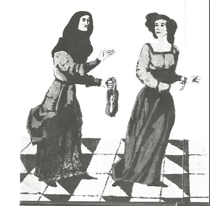 Dos imágenes de la Celestina en libro sobre grandes personajes literarios, de Navarro (1969)