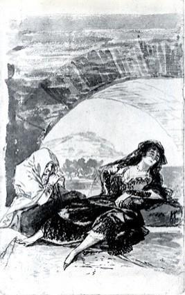 Maja y celestina esperando debajo de un arco, de Goya (1794,  c.)