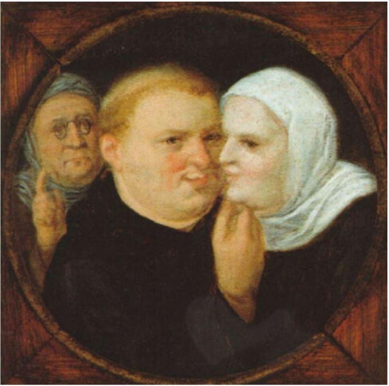 Monje con monja y alcahueta, o Martín Lutero con su consorte Catalina de Bora, de un discípulo de Brueghel el Joven (1600, c.)