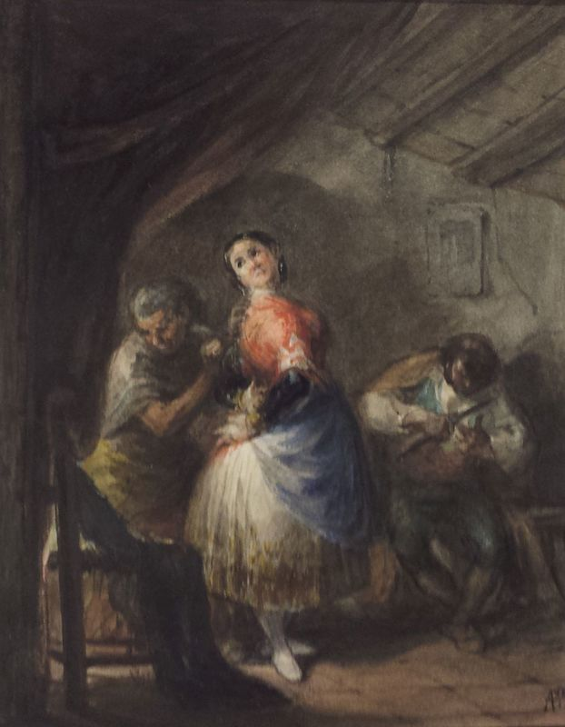 Vistiendo a la maja, de Alenza (1840, c.)