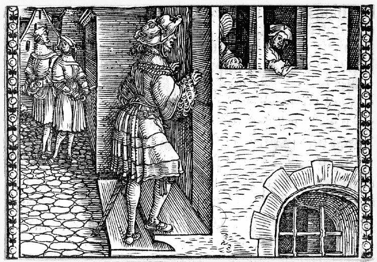 Grabado (primero) del acto XII de la edición de Augsburg (1520)