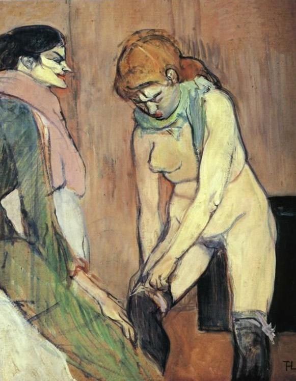 Mujer poniédose las medias, de Lautrec (1894 c.)