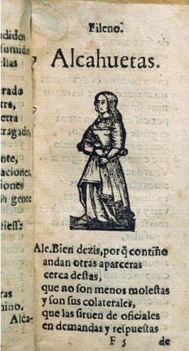 Ilustración de una alcahueta en el Diálogo de las mujeres de Castillejo (1600)