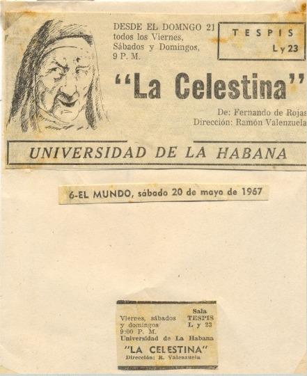 Representación del Teatro Universitario de La Habana, de Valenzuela (1967)
