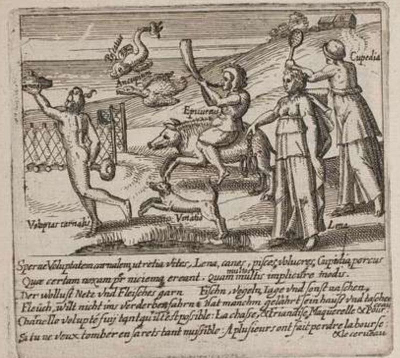 Ilustración en el libro Sperne Voluptatem, de Bry (1614)