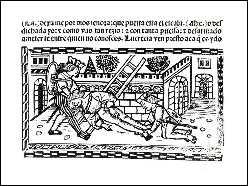 Grabado (segundo) del acto XIX de la edición de Valencia (1514)
