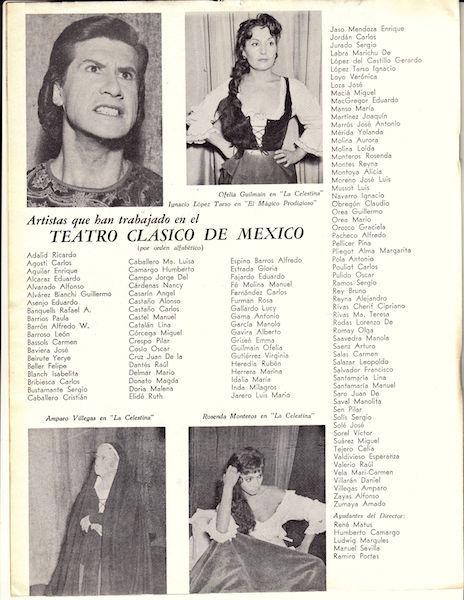 Representación del Teatro Español de México, 1953-1960.