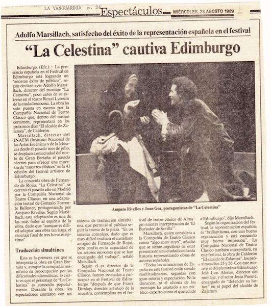 Representación del Edinburgh International Festival, de Marsillach (1989)