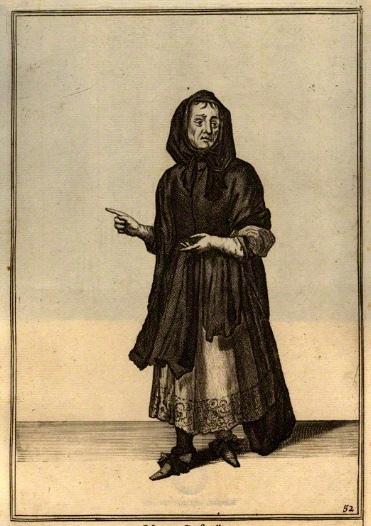 Grabado de la alcahueta inglesa Elizabeth Creswell, de Laroon (1675)