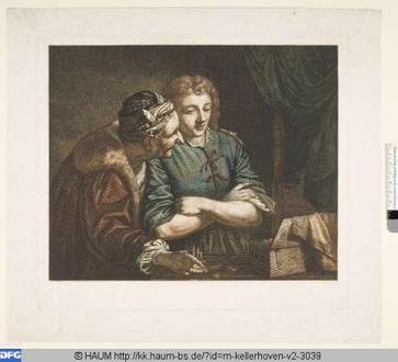 Alcahueta y hombre joven, grabado (1794) basado en cuadro de Bartolomeo Manfredi (1582- 1622)