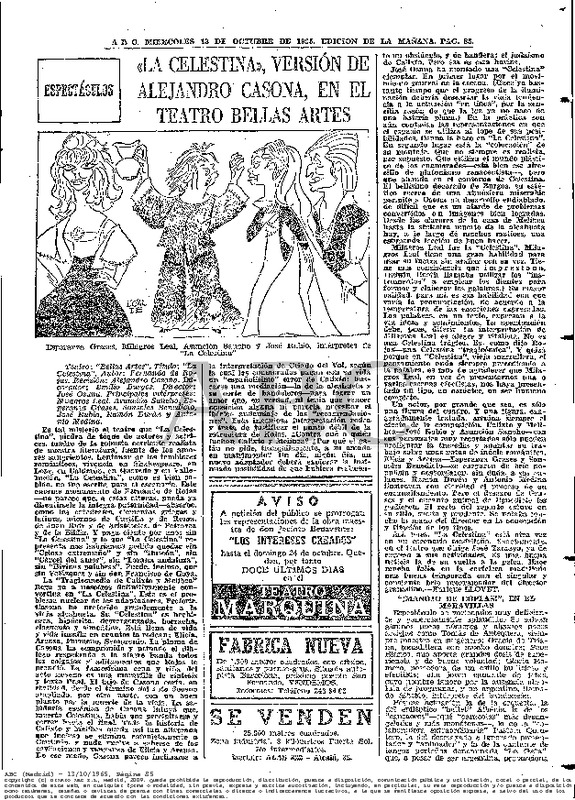 Diario ABC- Hemeroteca La Celestina versión de Alejandro Casona, en el teatro de Bellas Artes<br /> <br /> 13.11.1965