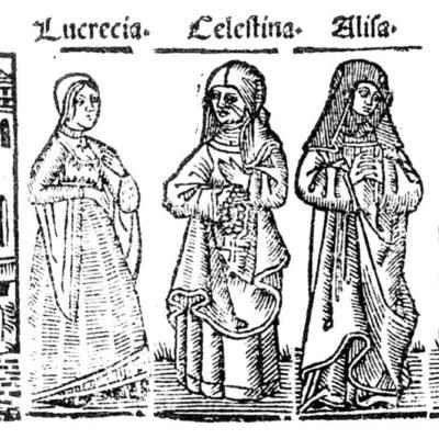 Ilustración del acto IV de la edición de Roma: Marcelo Silber, 1515 (colofón Stanislao Polono, Sevilla, 1502)