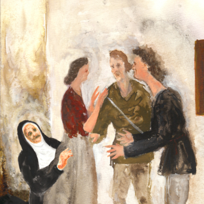 Sempronio y Pármeno en búsqueda de Celestina, de Acedo (2008, c.)