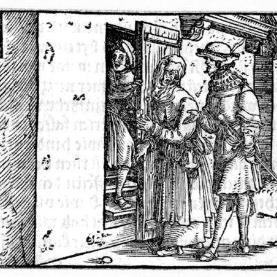 Grabado (tercero) del acto I de la edición de Augsburg (1520)