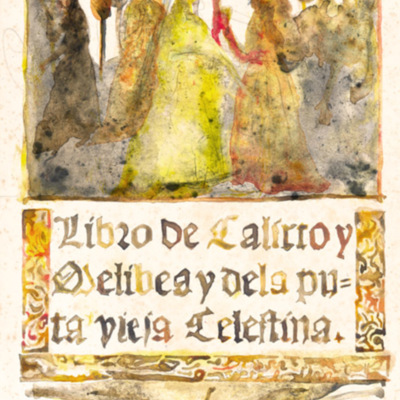 Portada en acuarela de La Celestina, de Acedo (2011 c.)