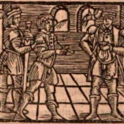 Ilustración del acto II de la edición de Estella (1557)