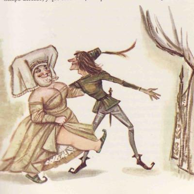 Ilustración primera del acto VI de la edición de Barcelona (1968)