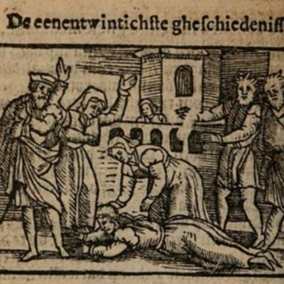 Ilustración del acto XXI de la edición de Amberes (1616)