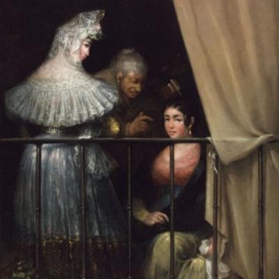 Majas y Celestina en el balcón, de Alenza y Nieto (1840 c.)