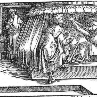 Grabado (primero) del acto XXI de la edición de Augsburg (1520)