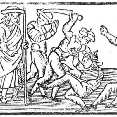 Ilustración segunda del acto XIII de la edición de Roma: Marcelo Silber, 1515 (colofón Stanislao Polono, Sevilla, 1502)