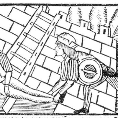 Ilustración segunda del acto XIX de la edición de Roma: Marcelo Silber, 1515 (colofón Stanislao Polono, Sevilla, 1502)