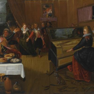 Escena de banquete, alegoría sobre el amor y la lujuria, de Francken el Viejo (1555, c.)