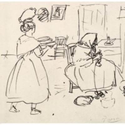 Celestina tejiendo, de Picasso (1903)