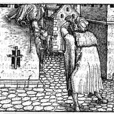 Grabado del acto XX de la edición de Augsburg (1520)